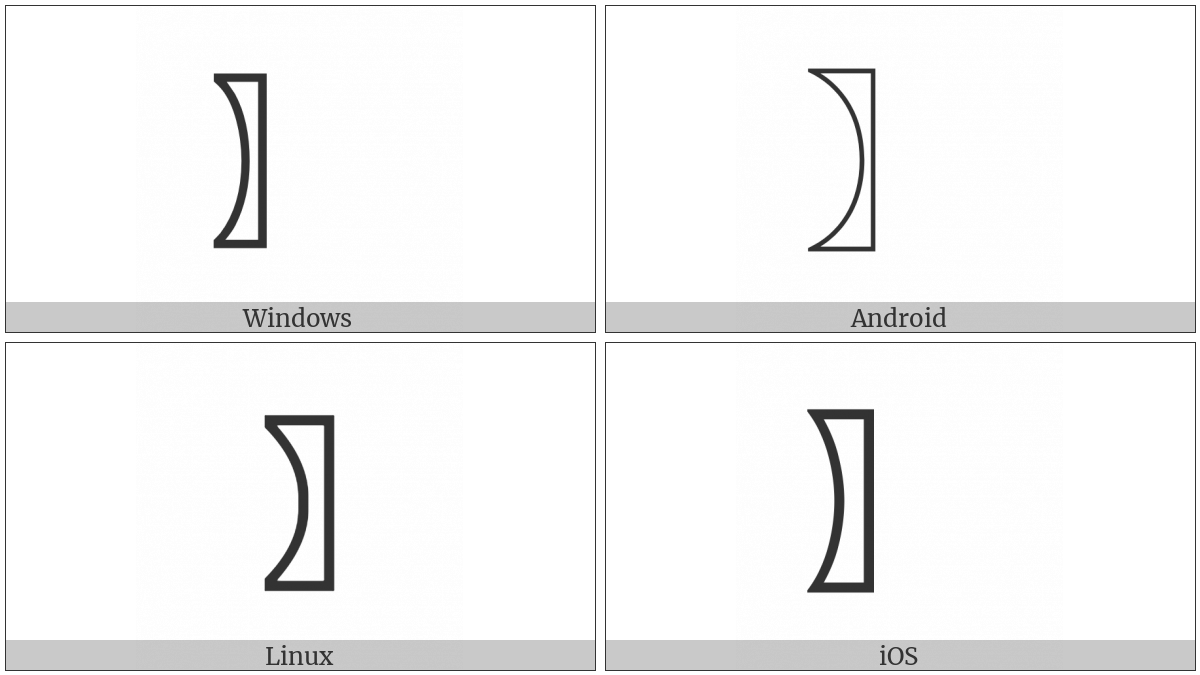 Right White Lenticular Bracket on various operating systems