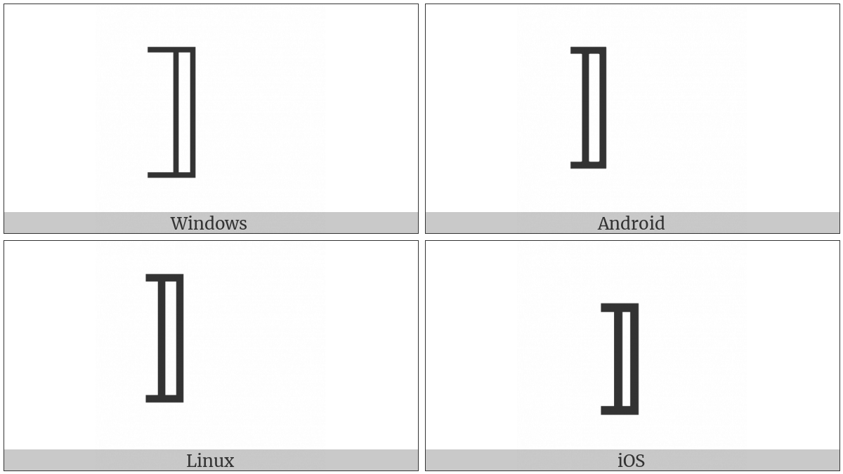 Right White Square Bracket on various operating systems