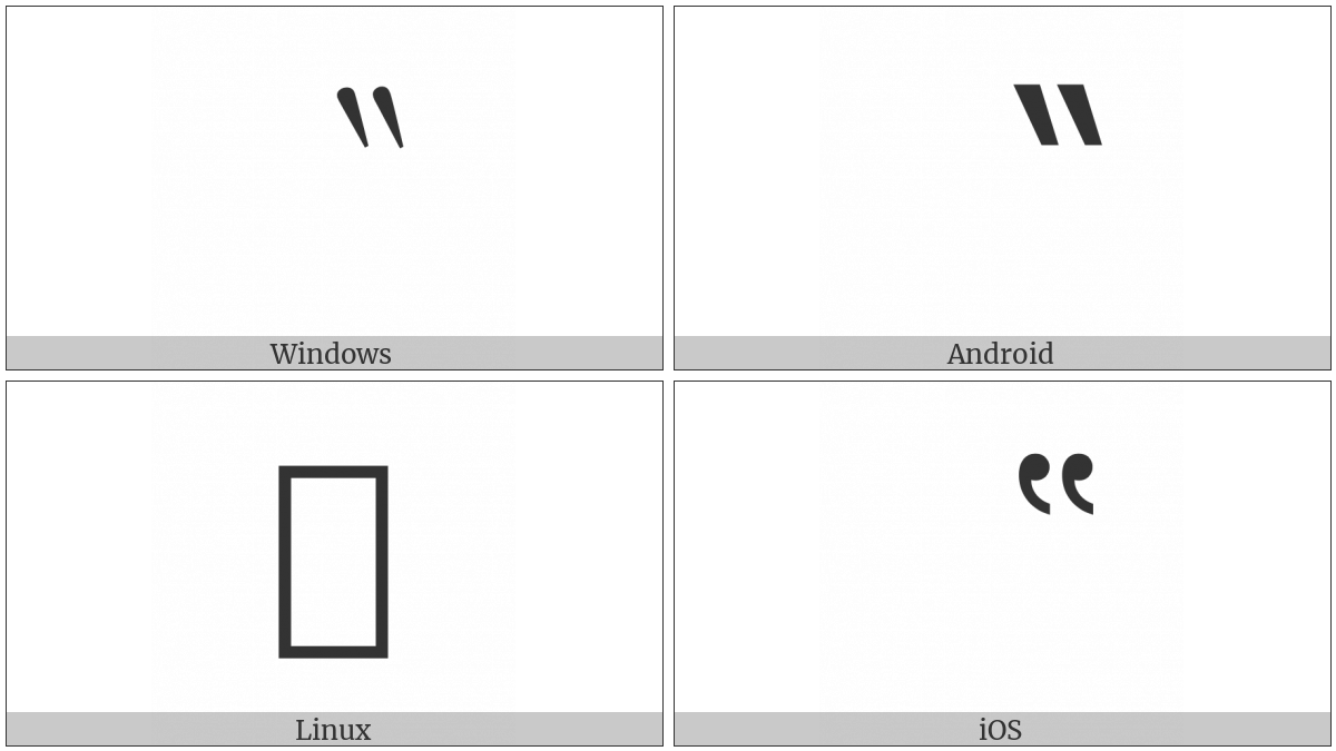 Reversed Double Prime Quotation Mark on various operating systems