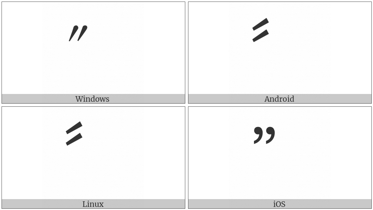 Double Prime Quotation Mark on various operating systems