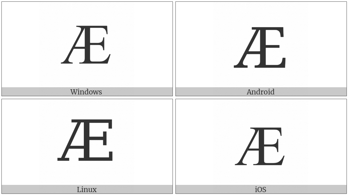 Cyrillic Capital Ligature A Ie on various operating systems