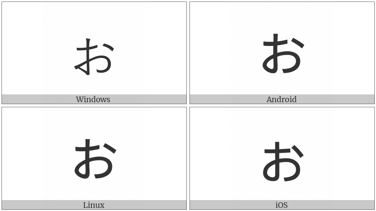 Hiragana Letter Small O on various operating systems