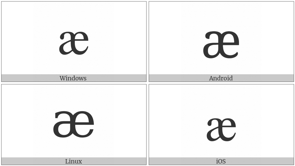 Cyrillic Small Ligature A Ie on various operating systems