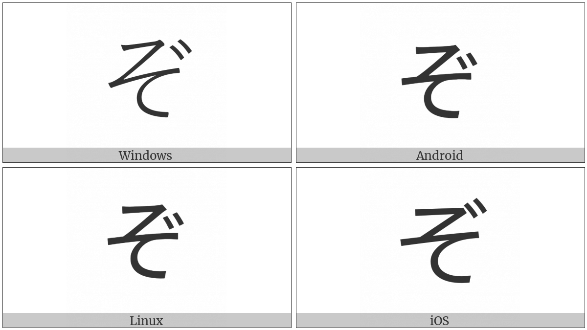 Hiragana Letter Zo on various operating systems