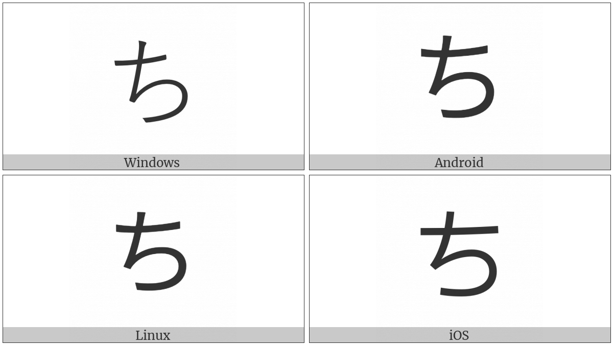 Hiragana Letter Ti on various operating systems