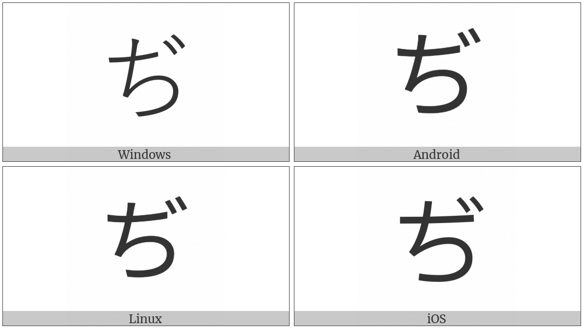 Hiragana Letter Di on various operating systems