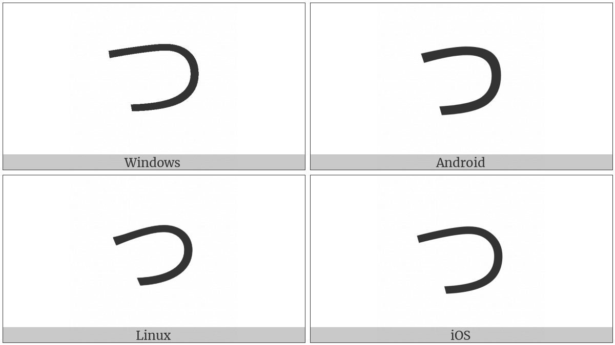 Hiragana Letter Tu on various operating systems