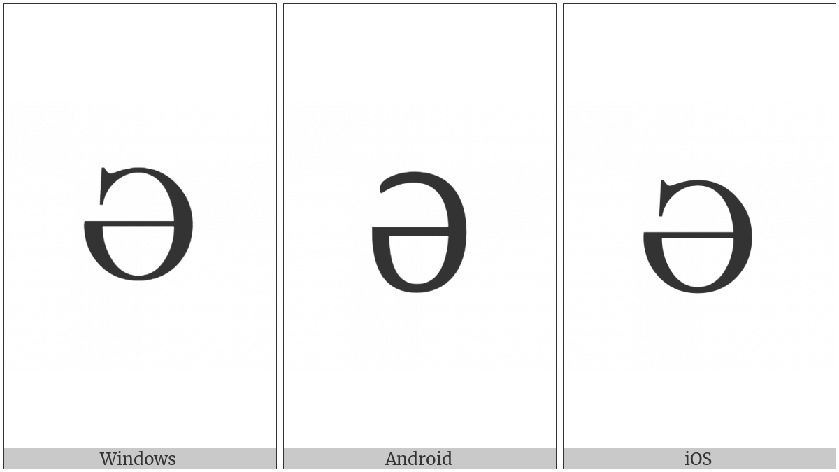Cyrillic Capital Letter Schwa on various operating systems