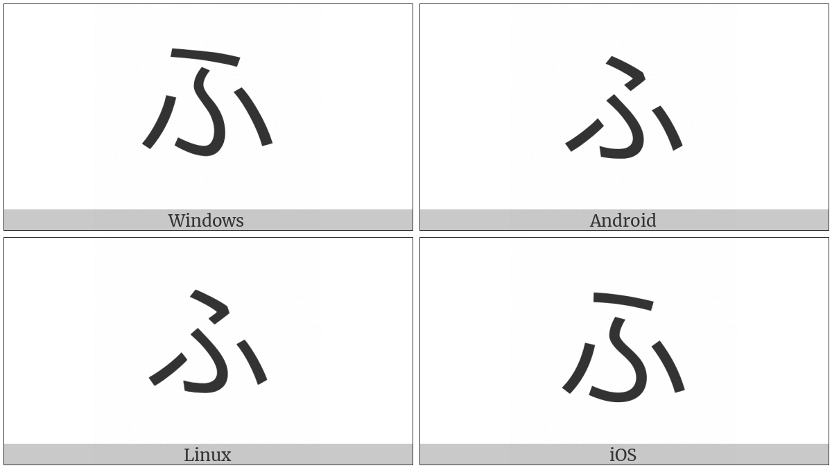 Hiragana Letter Hu on various operating systems