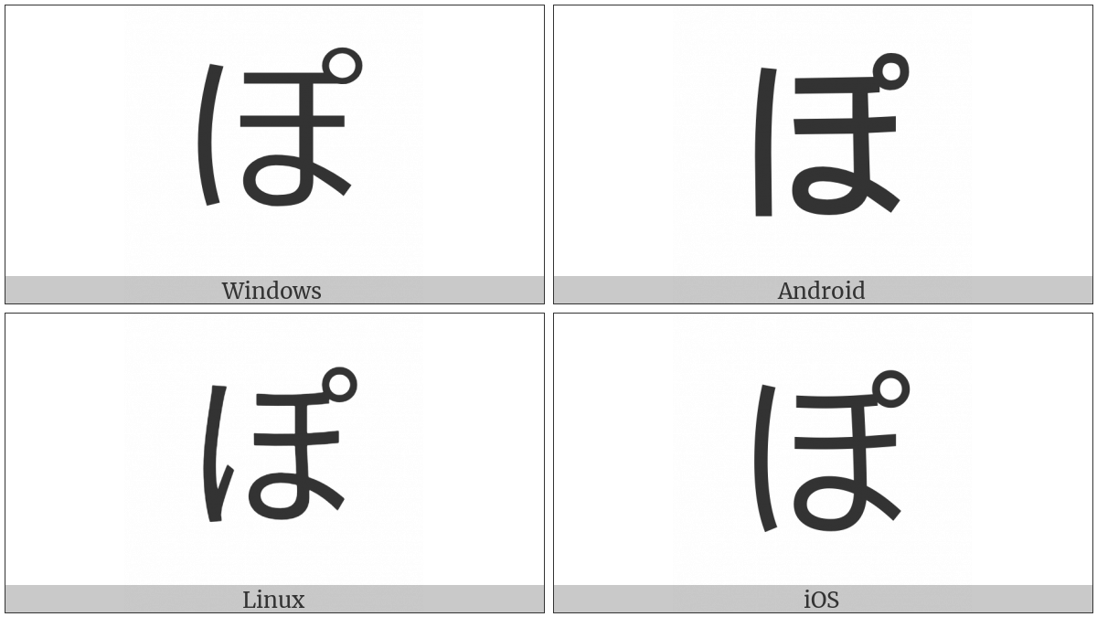 Hiragana Letter Po on various operating systems