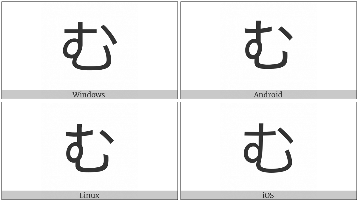 Hiragana Letter Mu on various operating systems