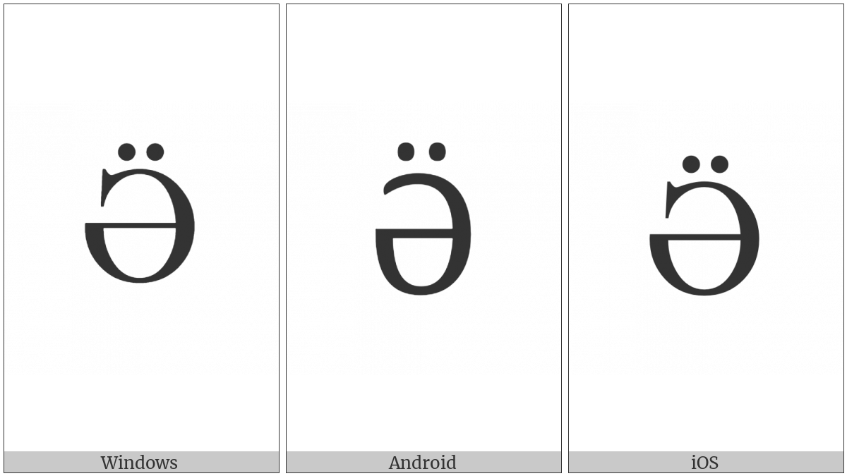 Cyrillic Capital Letter Schwa With Diaeresis on various operating systems