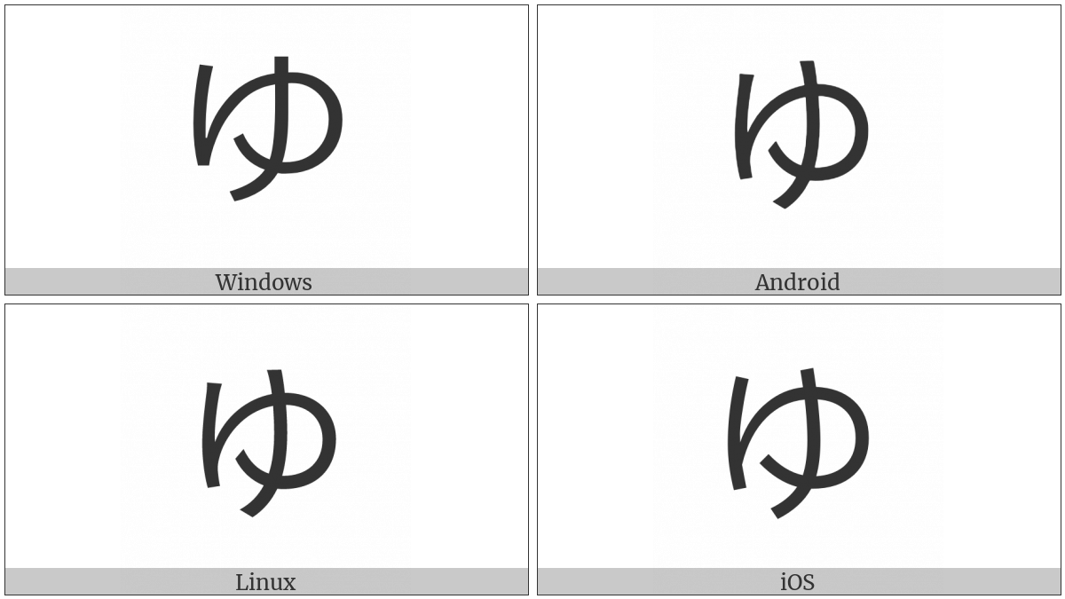 Hiragana Letter Yu on various operating systems