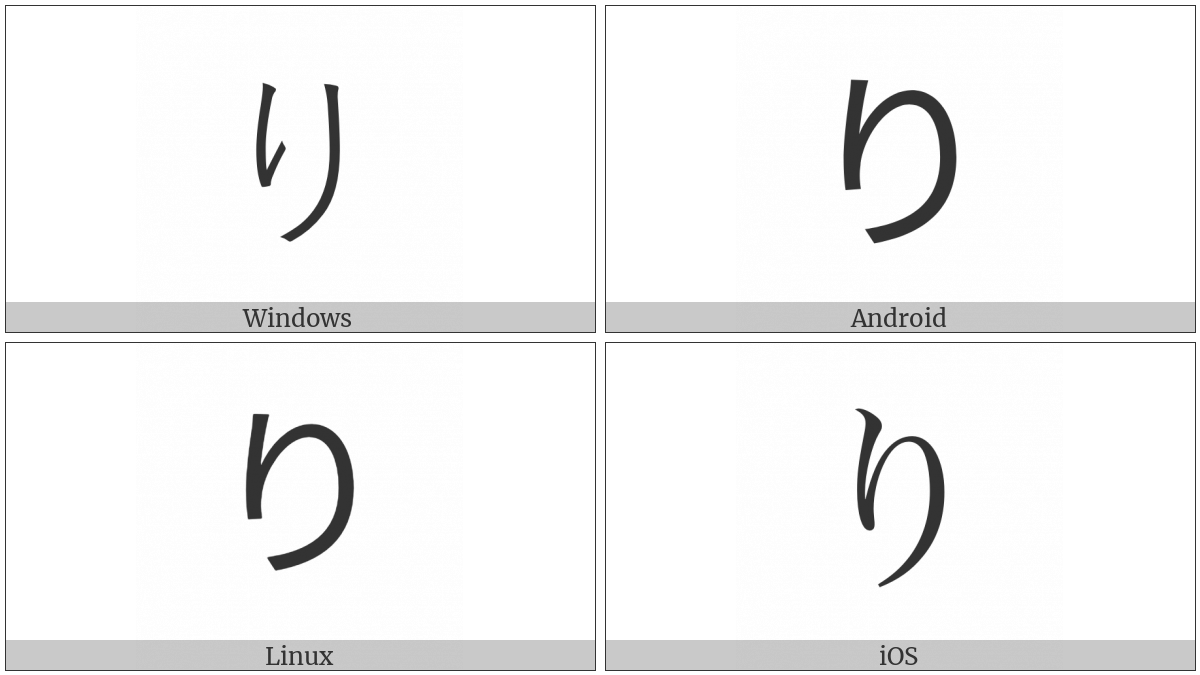 Hiragana Letter Ri on various operating systems