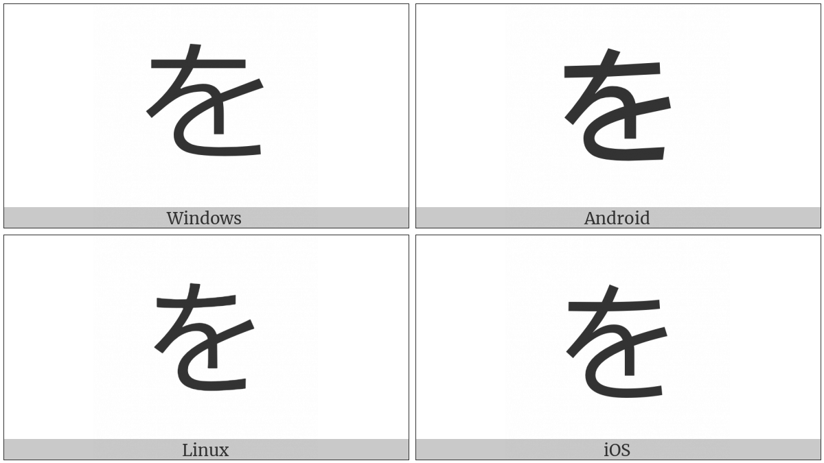 Hiragana Letter Wo on various operating systems