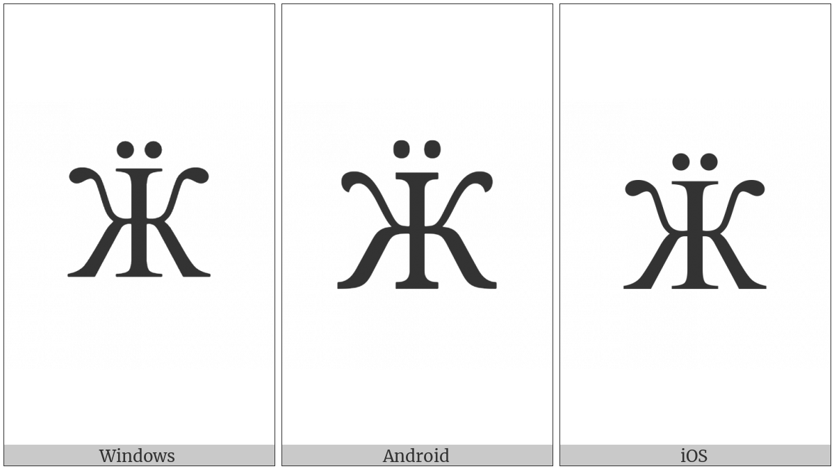 Cyrillic Capital Letter Zhe With Diaeresis on various operating systems