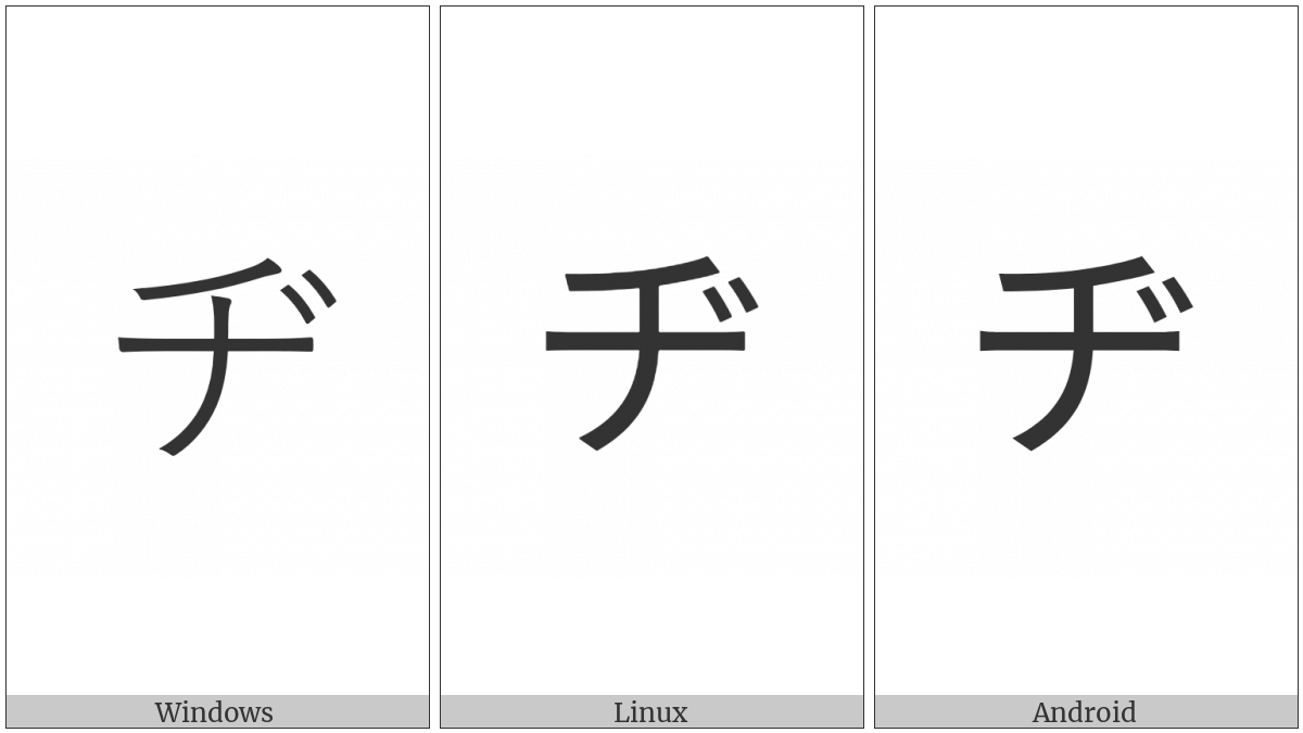 Katakana Letter Di on various operating systems