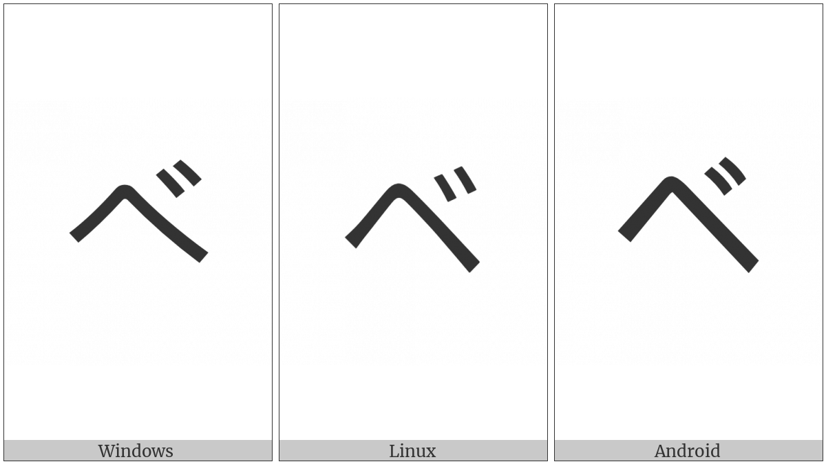 Katakana Letter Be on various operating systems
