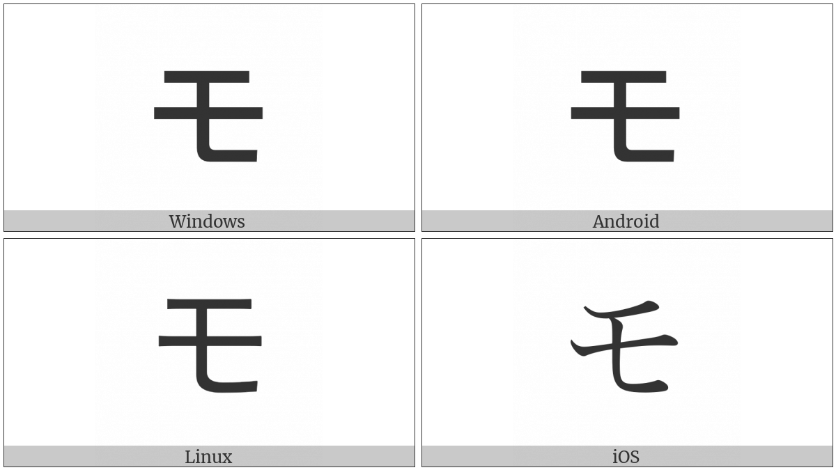 Katakana Letter Mo on various operating systems