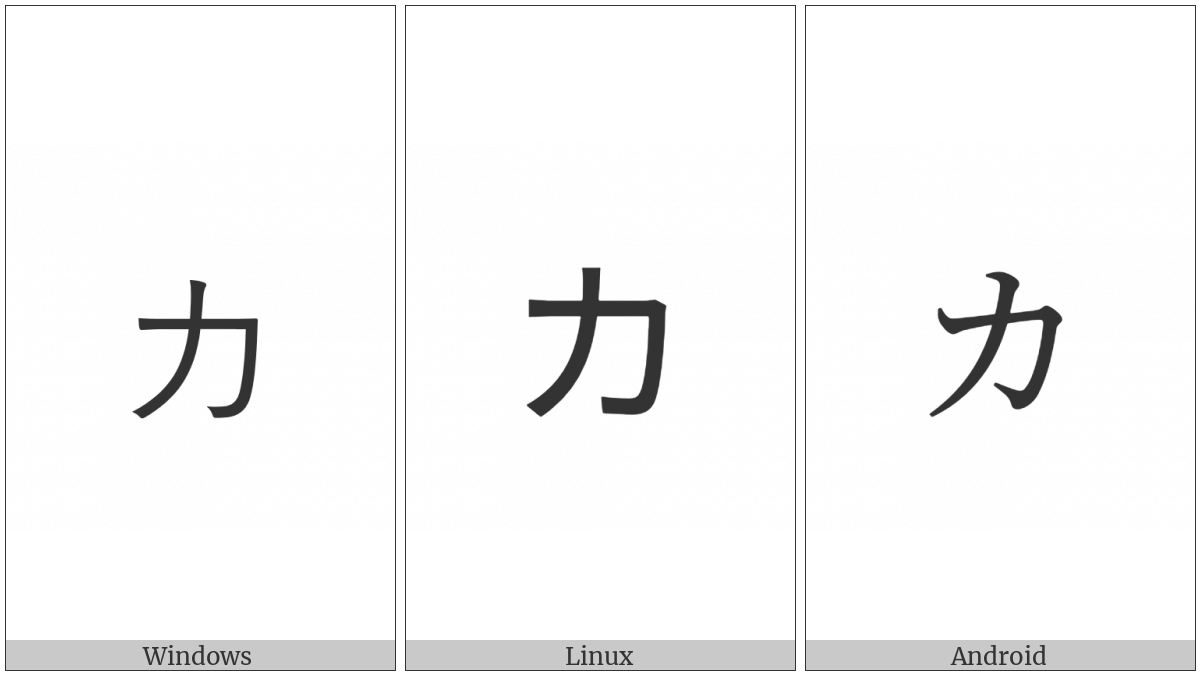 Katakana Letter Small Ka on various operating systems