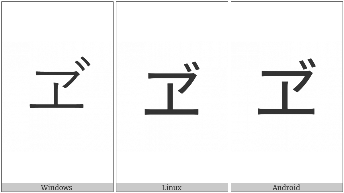 Katakana Letter Ve on various operating systems