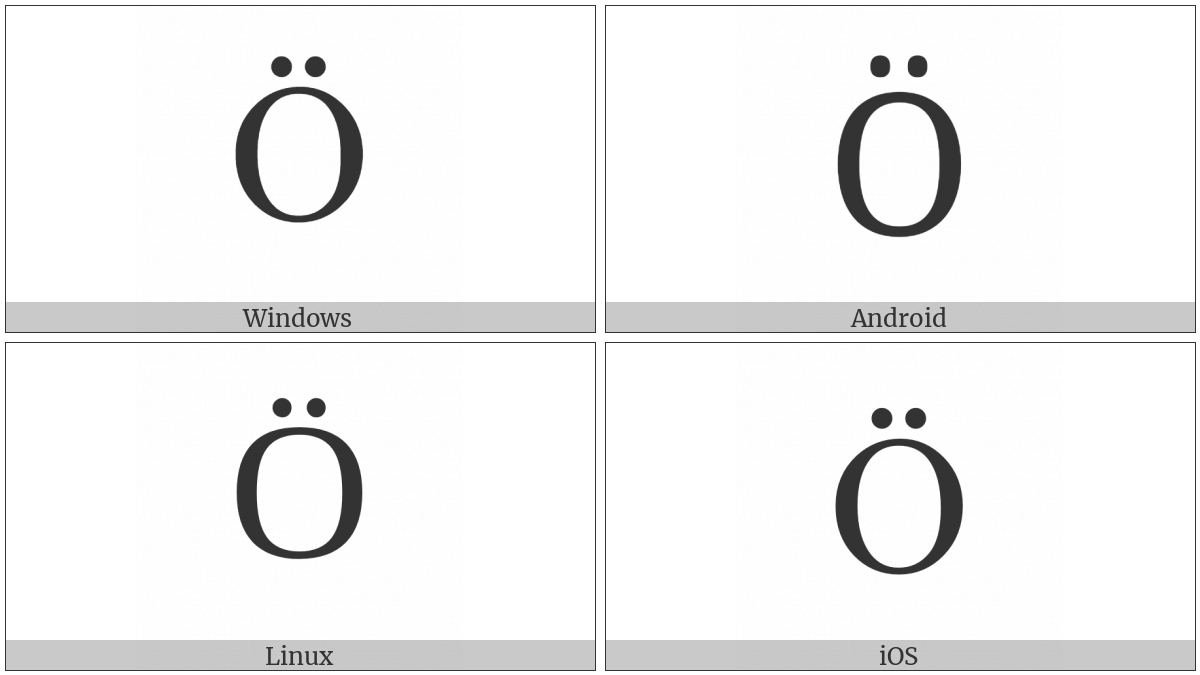 Cyrillic Capital Letter O With Diaeresis on various operating systems