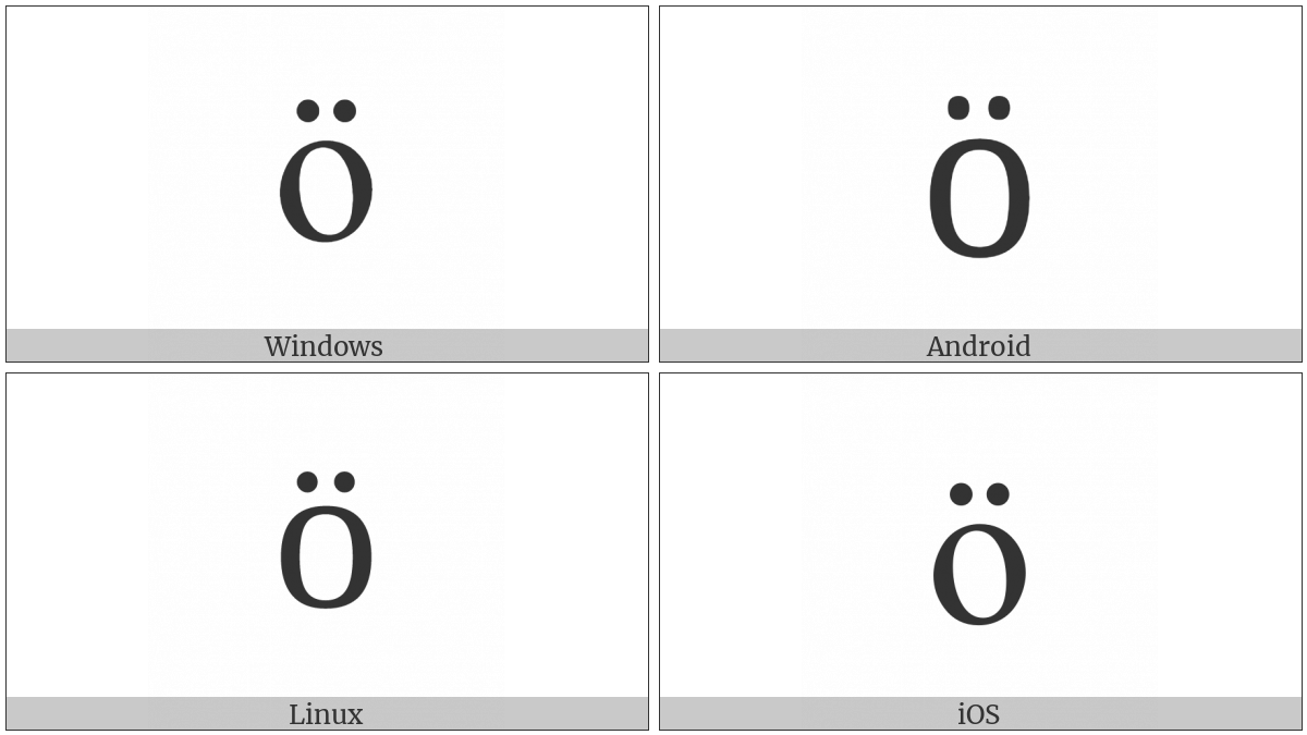 Cyrillic Small Letter O With Diaeresis on various operating systems