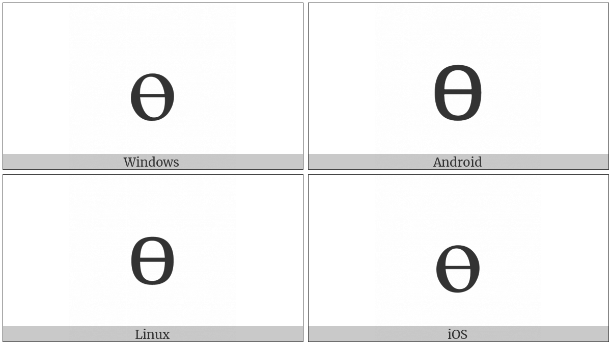 Cyrillic Small Letter Barred O on various operating systems