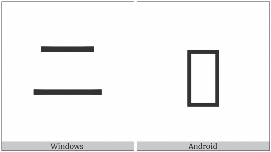 Ideographic Annotation Two Mark on various operating systems