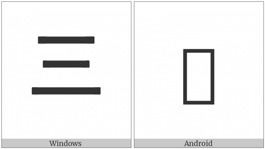 Ideographic Annotation Three Mark on various operating systems