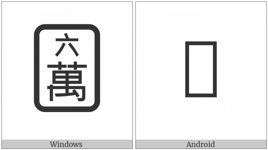 Mahjong Tile Six Of Characters on various operating systems