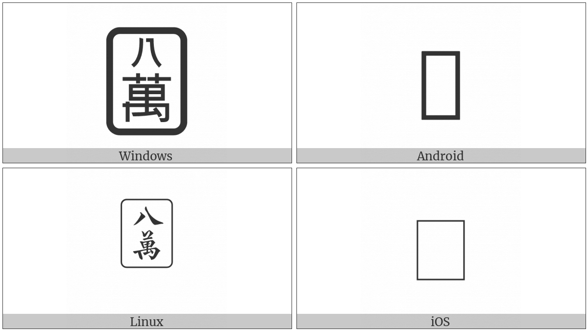 Mahjong Tile Eight Of Characters on various operating systems