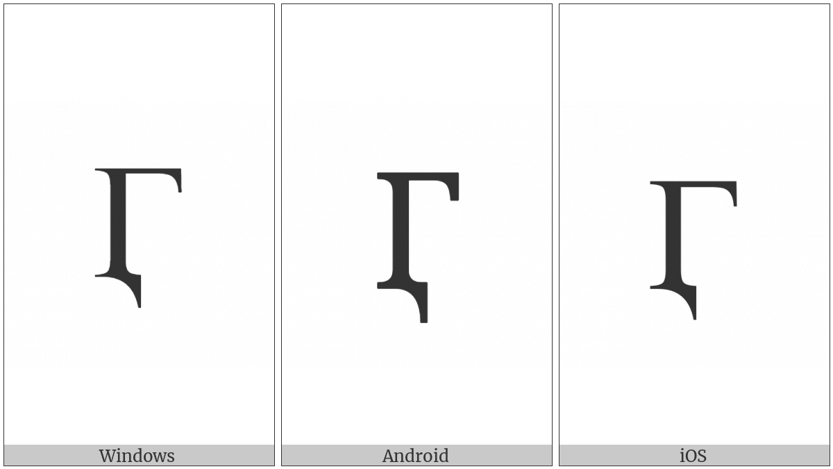 Cyrillic Capital Letter Ghe With Descender on various operating systems