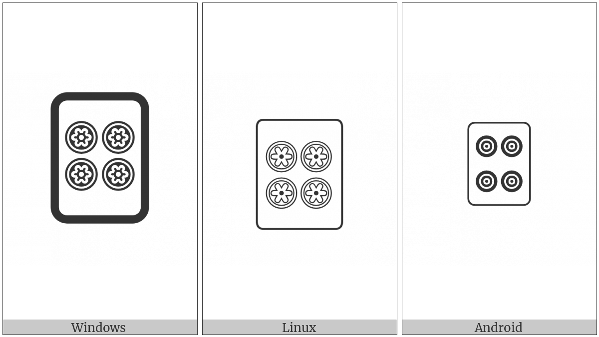 Mahjong Tile Four Of Circles on various operating systems