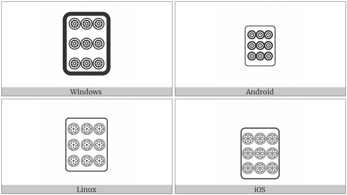 Mahjong Tile Nine Of Circles on various operating systems