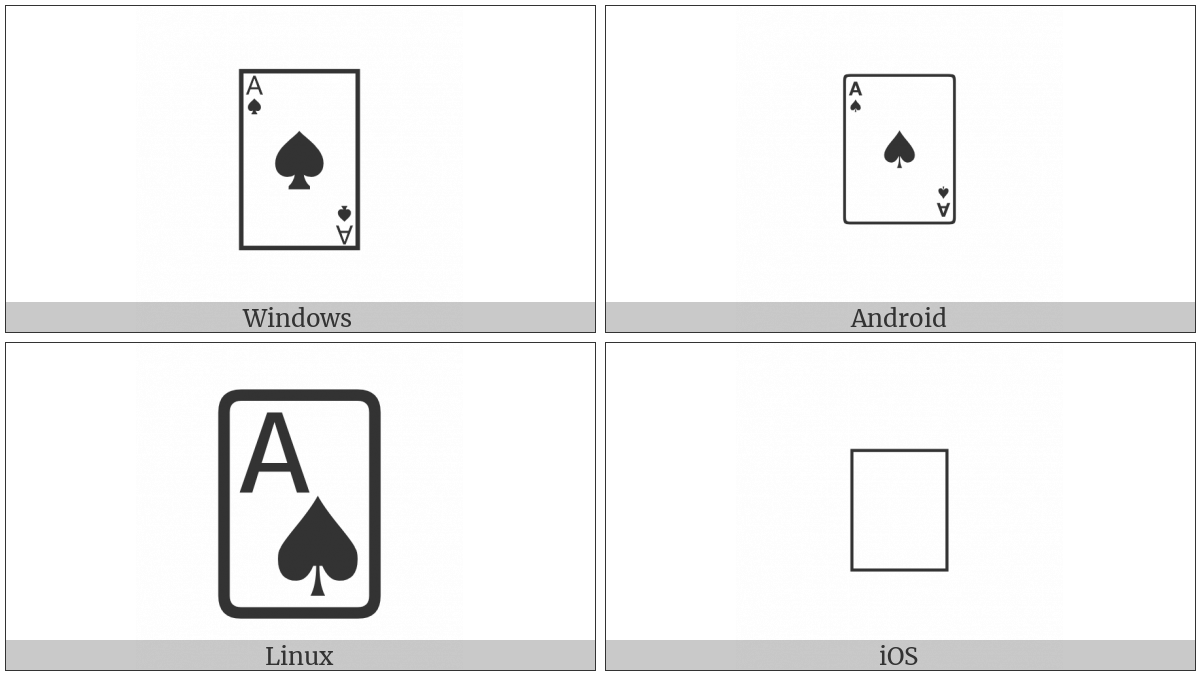 Playing Card Ace Of Spades on various operating systems