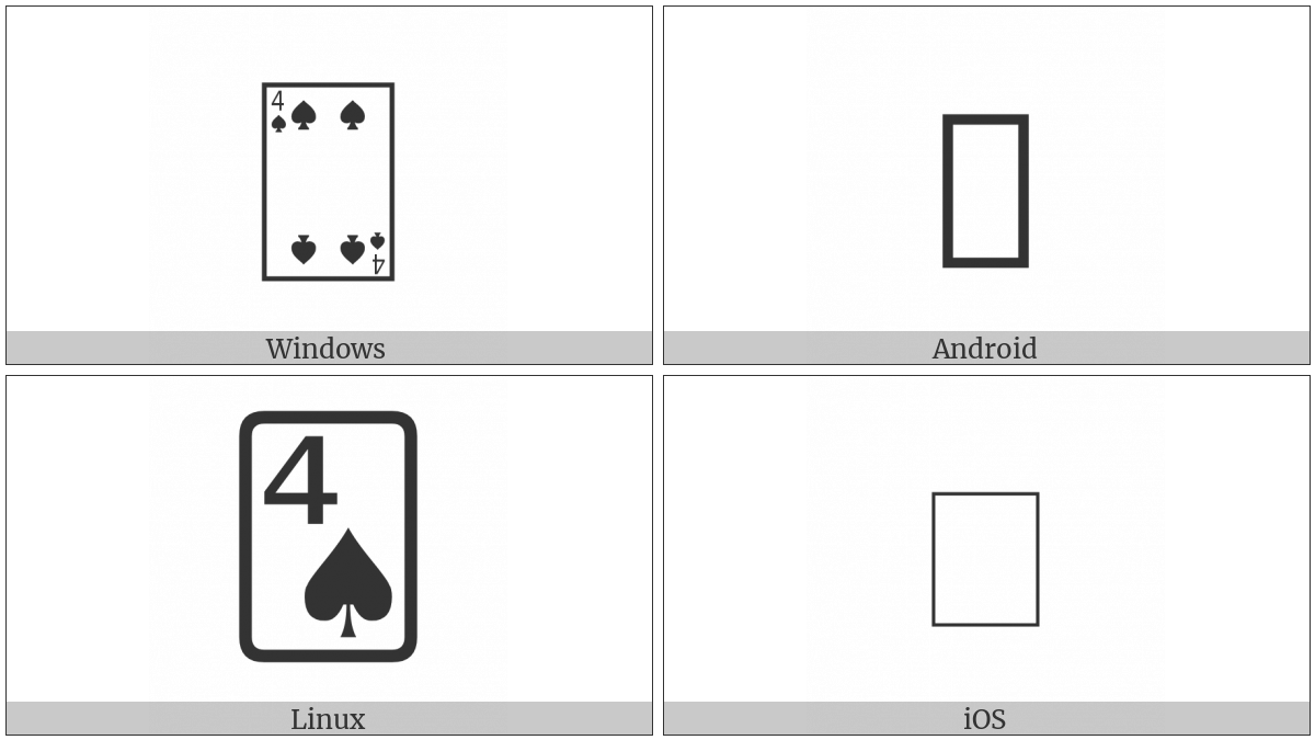 Playing Card Four Of Spades on various operating systems