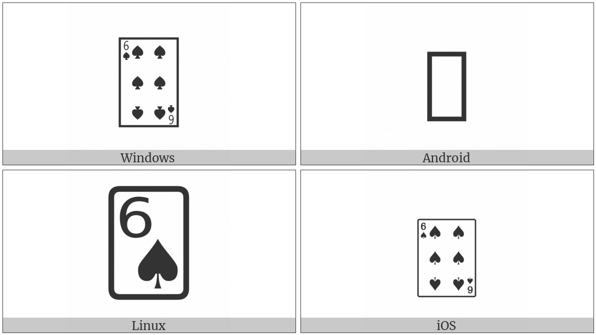 Playing Card Six Of Spades on various operating systems