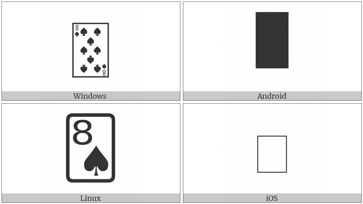 Playing Card Eight Of Spades on various operating systems