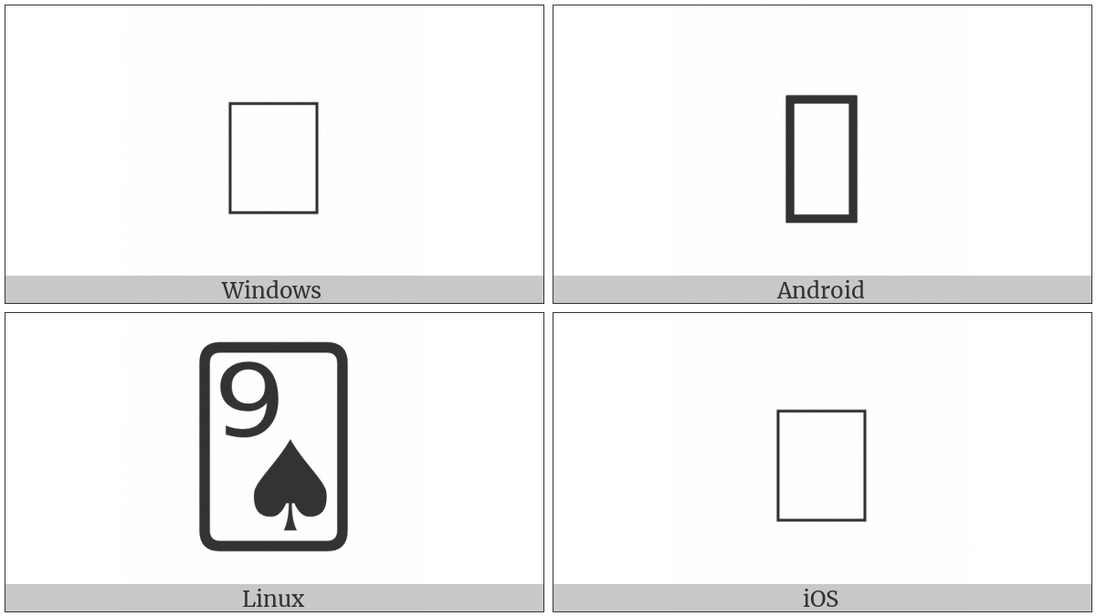 Playing Card Nine Of Spades on various operating systems