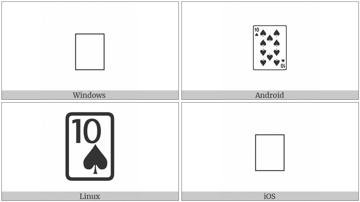 Playing Card Ten Of Spades on various operating systems