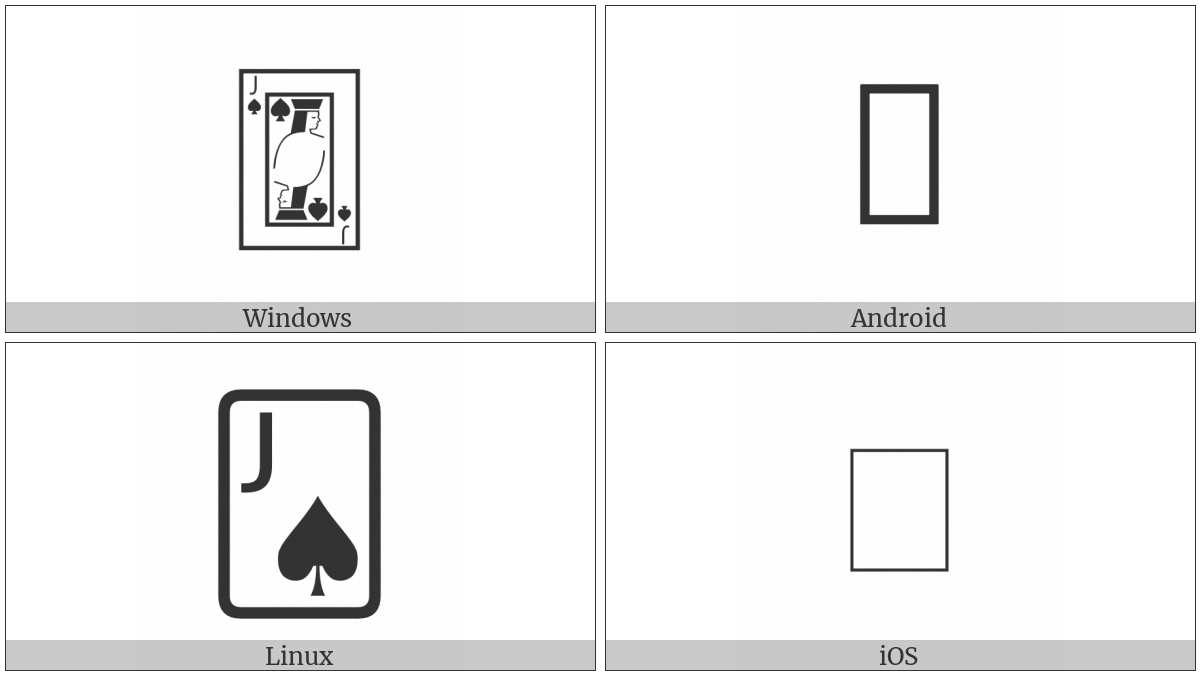 Playing Card Jack Of Spades on various operating systems