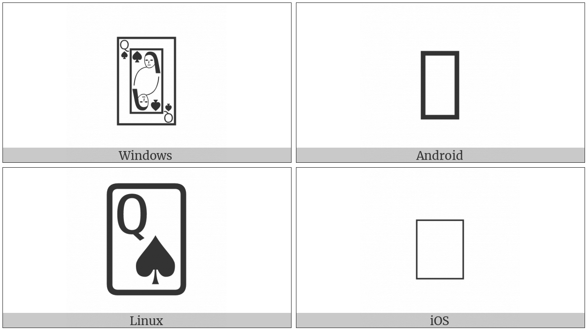 Playing Card Queen Of Spades on various operating systems