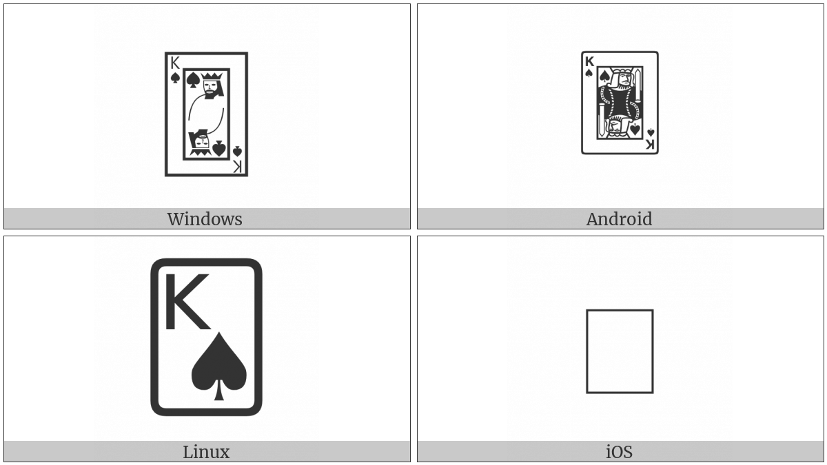 Playing Card King Of Spades on various operating systems