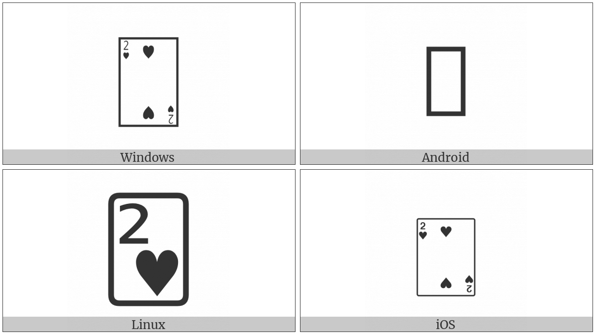 Playing Card Two Of Hearts on various operating systems
