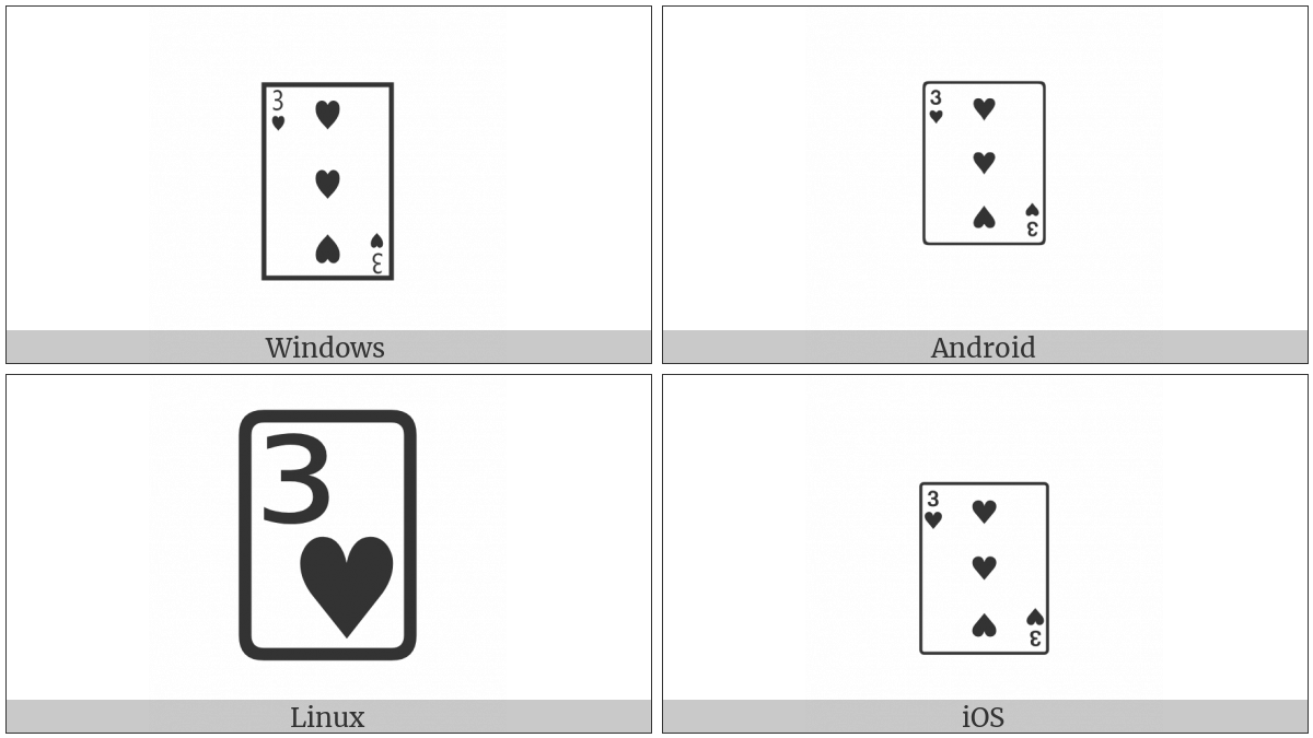 Playing Card Three Of Hearts on various operating systems