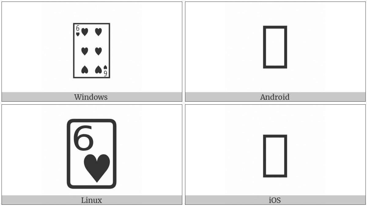 Playing Card Six Of Hearts on various operating systems