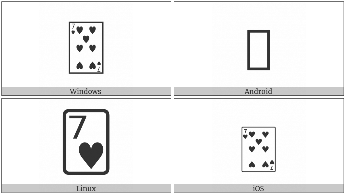 Playing Card Seven Of Hearts on various operating systems