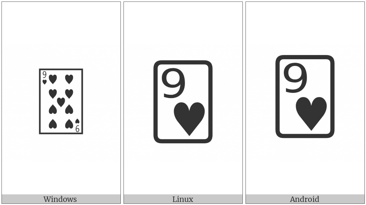 Playing Card Nine Of Hearts on various operating systems