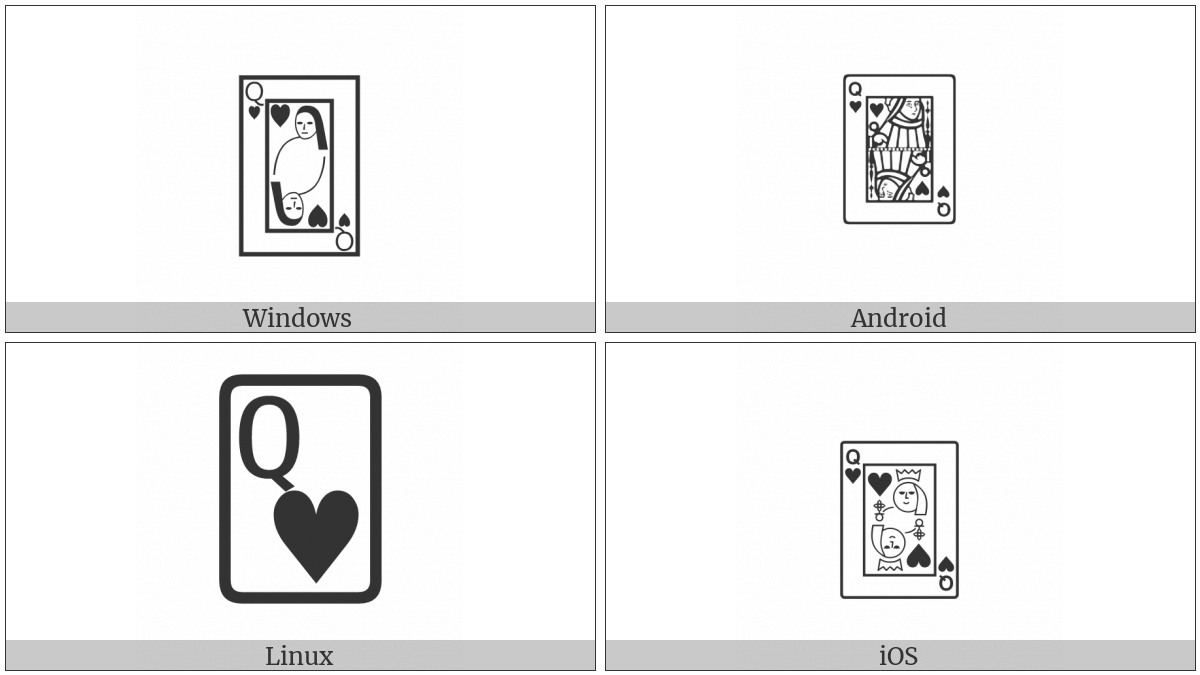 Playing Card Queen Of Hearts on various operating systems